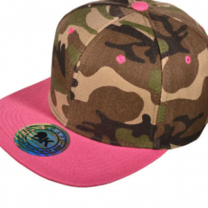 Designer Camo Hat with pink flatbill