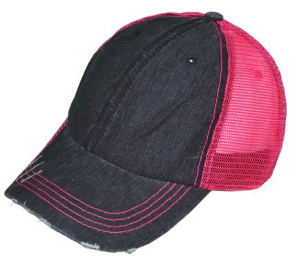 neon pink ponytail hat