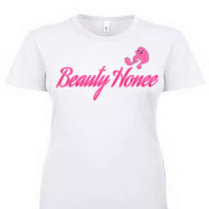 Beauty Honee white tee with pink design