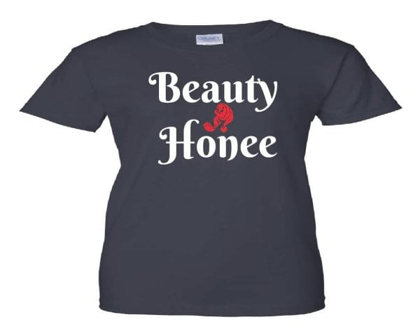 navy blue Beauty Honee t-shirt with red and white designer