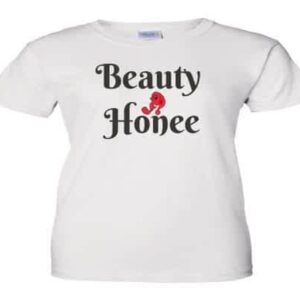 Beauty Honee white tee with black and red design