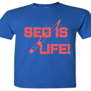 royal blue and red seo search engine optimization t-shirt