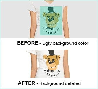 background vs no background on custom prints