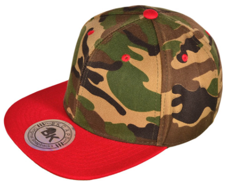 red bill and camo top hat